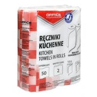 Ręczniki kuchenne celulozowe OFFICE PRODUCTS, 2-warstwowye, 50 listków, 9, 25m, 2szt., białe, Ręczniki papierowe i dozowniki, Artykuły higieniczne i dozowniki