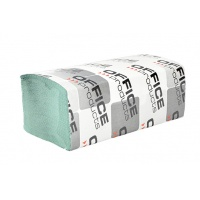 Ręczniki składane ZZ makulaturowe ekonomiczne OFFICE PRODUCTS, 1-warstwowe, 4000 listków, 20szt., zielone, Ręczniki papierowe i dozowniki, Artykuły higieniczne i dozowniki