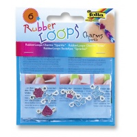 Charmsy RUBBER LOOPS SPARKLE, 5szt., mix kolorów, Produkty kreatywne, Szkoła 2015