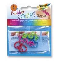 Charmsy RUBBER LOOPS LOVE, 4szt., mix kolorów, Produkty kreatywne, Szkoła 2015