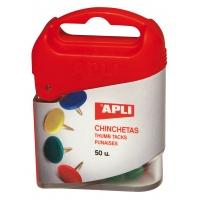 Pinezki kolorowe APLI, pudełko 50 szt., mix kolorów, Produkty kreatywne, Szkoła 2015