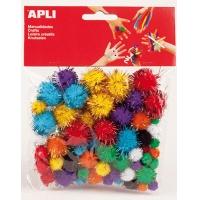 Pompony błyszczące APLI, 78 szt., mix kolorów, Produkty kreatywne, Szkoła 2015