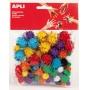 Pompony błyszczące APLI, 78 szt., mix kolorów