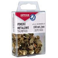 Pinezki metalowe OFFICE PRODUCTS, w pudełku, 150 szt., złote, Pinezki, Drobne akcesoria biurowe