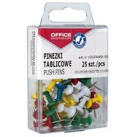 Pinezki kolorowe beczułki OFFICE PRODUCTS, w pudełku, 25szt., mix kolorów, Pinezki, Drobne akcesoria biurowe