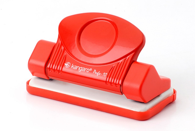 Dziurkacz KANGARO Perfo 10, dziurkuje do 10 kartek, czerwony, Dziurkacze, Drobne akcesoria biurowe
