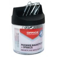 Pojemnik magn. na spinacze OFFICE PRODUCTS, okrągły, ze spinaczami, transparentny, Przyborniki na biurko, Drobne akcesoria biurowe