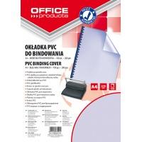 Okładki do bindowania OFFICE PRODUCTS, PVC, A4, 200mikr., 100szt., niebieskie transparentne, Akcesoria do laminacji i bindowania, Prezentacja