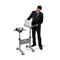 Stolik multimedialny do projekcji NOBO, mobilny, metalowy, dwupoziomowy, srebrny, Prezentery i sortery, Prezentacja