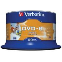 Płyta DVD-R VERBATIM AZO, 4,7GB, prędkość 16x, cake, 50szt., do nadruku, Nośniki danych, Akcesoria komputerowe