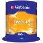 Płyta DVD-R VERBATIM AZO, 4,7GB, prędkość 16x, cake, 100szt., srebrny mat
