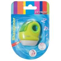 Temperówka KEYROAD, plastikowa, pojedyncza, z gumką, blister, mix kolorów, Temperówki, Artykuły do pisania i korygowania