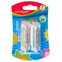 Gumka uniwersalna KEYROAD Pop-Star, 2szt., blister, mix kolorów, Plastyka, Artykuły szkolne