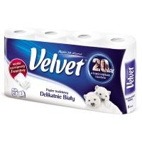 Papier toaletowy celulozowy VELVET Delikatnie Biały, 3-warstwowy, 162 listki, 8szt., biały, Papiery toaletowe i dozowniki, Artykuły higieniczne i dozowniki