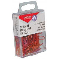 Spinacze kolorowe OFFICE PRODUCTS, powlekane, 28mm, w pudełku, 100szt., czerwony, Spinacze, Drobne akcesoria biurowe
