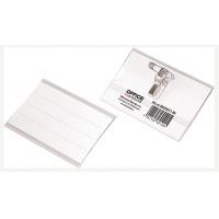 Identyfikator OFFICE PRODUCTS, z klipsem i agrafką, otwór z boku, miękki, transparentny, Identyfikatory, Prezentacja