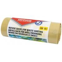 Worki na śmieci domowe OFFICE PRODUCTS, do segregacji plastiku, mocne (LDPE), 120l, 10szt., żółte, Worki, Artykuły higieniczne i dozowniki