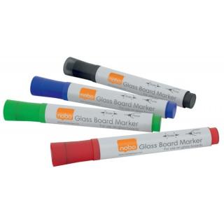 Markery do tablic szklanych NOBO, 4szt., mix kolorów, Markery, Artykuły do pisania i korygowania