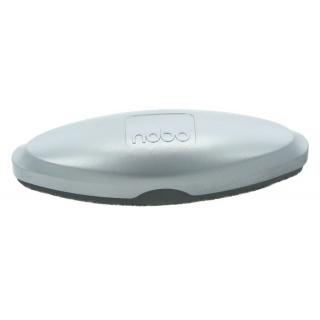 Gąbka do tablic szklanych NOBO, magnetyczna, z wymiennym wkładem, srebrna, Bloki, magnesy, gąbki, spraye do tablic, Prezentacja