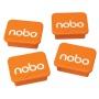 Magnesy do tablic NOBO, prostokoątne, 18x22mm, 4szt., pomarańczowe, Bloki, magnesy, gąbki, spraye do tablic, Prezentacja