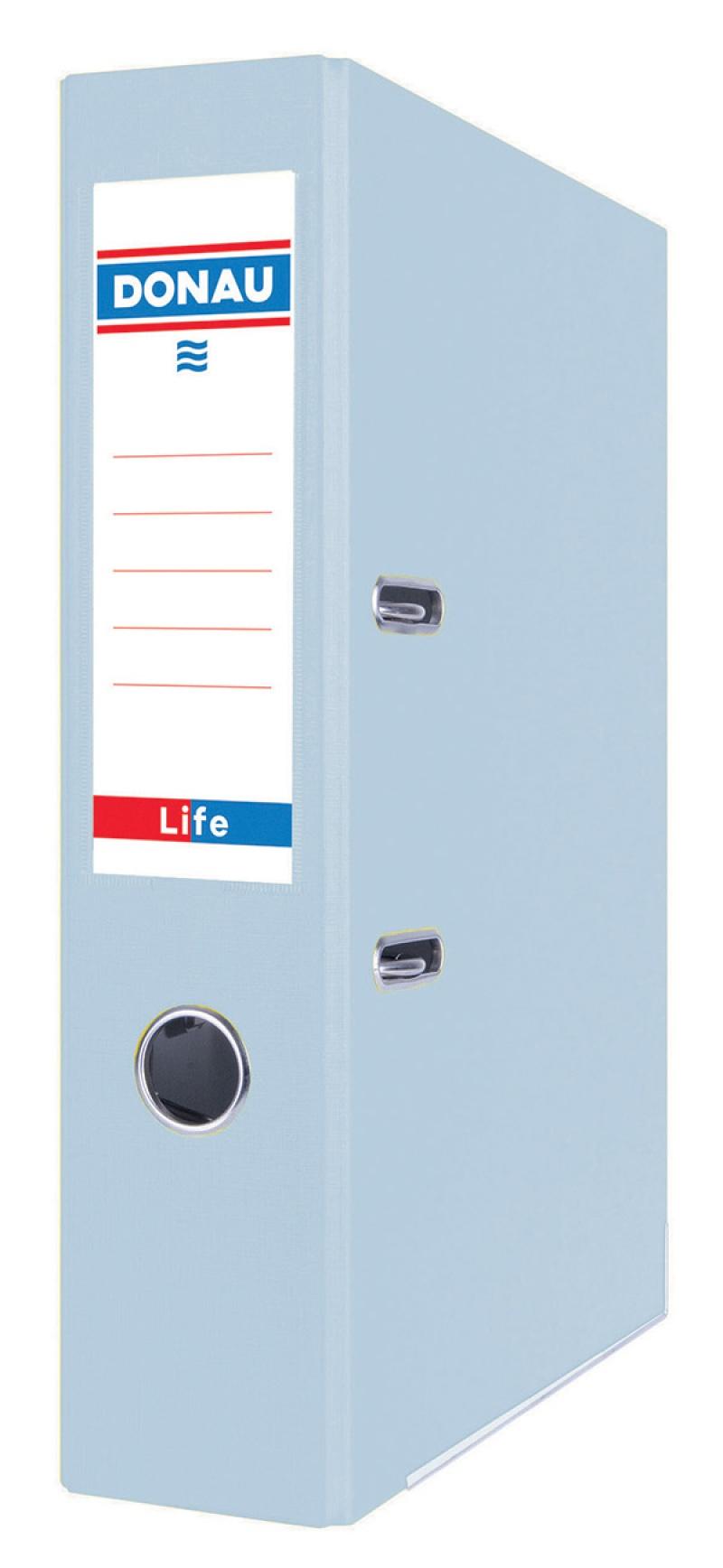 Segregator DONAU Life, pastel, A4/75mm, niebieski, Segregatory polipropylenowe, Archiwizacja dokumentów