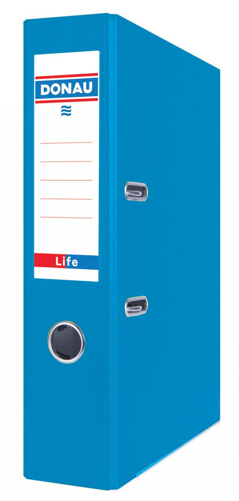 Segregator DONAU Life, neon, A4/75mm, niebieski, Segregatory polipropylenowe, Archiwizacja dokumentów