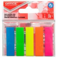 Zakładki indeksujące OFFICE PRODUCTS, standard, PP, 12x45mm, 5x25 kart., zawieszka, mix kolorów, Zakładki indeksujące, Papier i etykiety