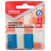 Zakładki indeksujące OFFICE PRODUCTS, PP, 25x43mm, 1x50 kart., blister, niebieskie, Zakładki indeksujące, Papier i etykiety