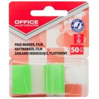 Zakładki indeksujące OFFICE PRODUCTS, PP, 25x43mm, 1x50 kart., blister, zielone, Zakładki indeksujące, Papier i etykiety