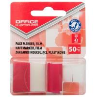 Zakładki indeksujące OFFICE PRODUCTS, PP, 25x43mm, 1x50 kart., blister, czerwone, Zakładki indeksujące, Papier i etykiety