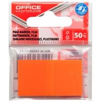 Zakładki indeksujące OFFICE PRODUCTS, PP, 25x43mm, 1x50 kart., zawieszka, pomarańczowe, Zakładki indeksujące, Papier i etykiety
