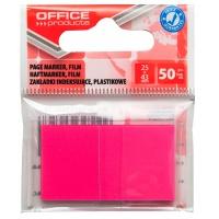 Zakładki indeksujące OFFICE PRODUCTS, PP, 25x43mm, 1x50 kart., zawieszka, różowe, Zakładki indeksujące, Papier i etykiety