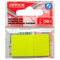 Zakładki indeksujące OFFICE PRODUCTS, PP, 25x43mm, 1x50 kart., zawieszka, żółte, Zakładki indeksujące, Papier i etykiety