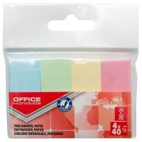 Zakładki indeksujące OFFICE PRODUCTS, papier, 20x50mm, 4x40 kart., zawieszka, mix kolorów pastel, Zakładki indeksujące, Papier i etykiety