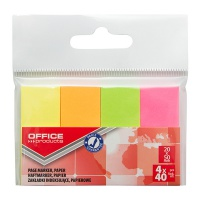 Zakładki indeksujące OFFICE PRODUCTS, papier, 20x50mm, 4x40 kart., zawieszka, mix kolorów neon, Zakładki indeksujące, Papier i etykiety