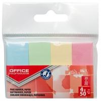 Zakładki indeksujące OFFICE PRODUCTS, papier, 20x50mm, 4x50 kart., zawieszka, mix kolorów pastel, Zakładki indeksujące, Papier i etykiety