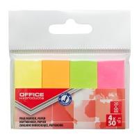 Zakładki indeksujące OFFICE PRODUCTS, papier, 20x50mm, 4x50 kart., zawieszka, mix kolorów neon, Zakładki indeksujące, Papier i etykiety