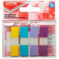 Zakładki indeksujące OFFICE PRODUCTS, PP, 12x43mm, 4x35 kart., zawieszka, mix kolorów pastel, Zakładki indeksujące, Papier i etykiety