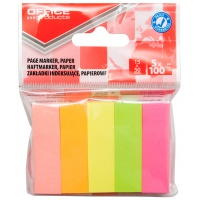 Zakładki indeksujące OFFICE PRODUCTS, papier, 15x50mm, 5x100 kart., zawieszka, mix kolorów, Zakładki indeksujące, Papier i etykiety