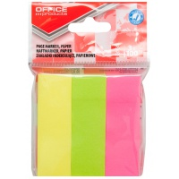 Zakładki indeksujące OFFICE PRODUCTS, papier, 26x76mm, 3x100 kart., zawieszka, mix kolorów, Zakładki indeksujące, Papier i etykiety