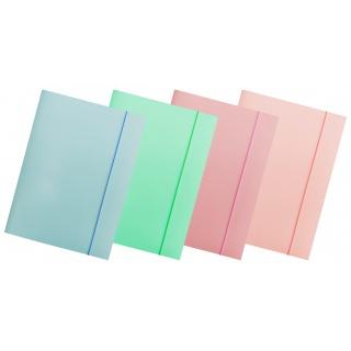 Teczka z gumką OFFICE PRODUCTS Pastel, karton/lakier, A4, 300gsm, 3-skrz., mix kolorów, Teczki płaskie, Archiwizacja dokumentów