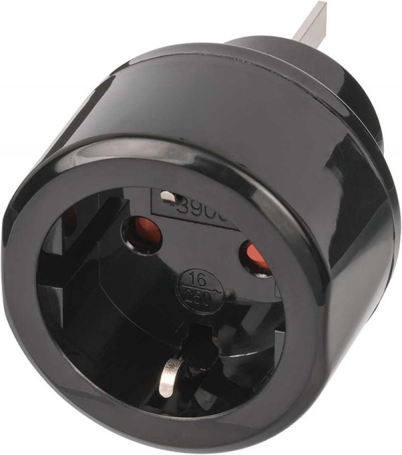 Adapter wtykowy BRENNENSTUHL, z uziemieniem AU i CN, 1 gniazdo, blister, czarny, Przedłużacze, listwy, zasilacze, UPSy, Urządzenia i maszyny biurowe