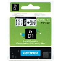 Dymo taśma do drukarek etykiet, D1 45013 | 12mm x 7m | czarny / biały, Folie do drukarek, Materiały eksploatacyjne