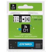Dymo taśma do drukarek etykiet, D1 40913 | 9mm x 7m | czarny / biały, Folie do drukarek, Materiały eksploatacyjne