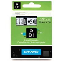 Dymo taśma do drukarek etykiet, D1 45803 | 19mm x 7m | czarny / biały, Folie do drukarek, Materiały eksploatacyjne