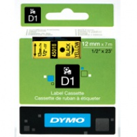 Dymo taśma do drukarek etykiet, D1 45018 | 12mm x 7m | czarny / żółty, Folie do drukarek, Materiały eksploatacyjne