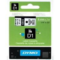 Dymo taśma do drukarek etykiet, D1 43613 | 6mm x 7m | czarny / biały, Folie do drukarek, Materiały eksploatacyjne