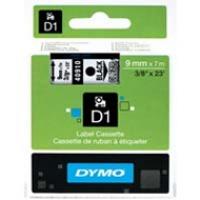 Dymo taśma do drukarek etykiet, D1 40910 | 9mm x 7m | czarny / przezroczysty, Folie do drukarek, Materiały eksploatacyjne