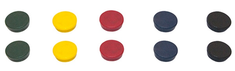 Display Magnets BI-OFFICE, round, diameter 30mm, 10pcs, assorted colours