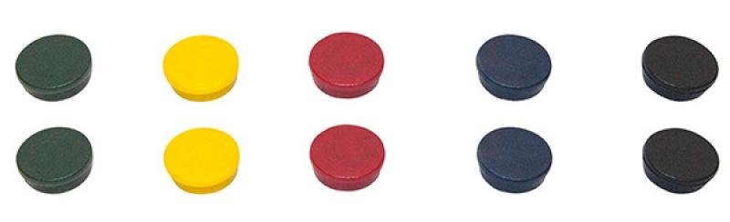 Magnesy BI-OFFICE, okrągłe, średnica 30mm, 10szt., mix kolorów, Bloki, magnesy, gąbki, spraye do tablic, Prezentacja